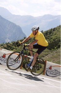 Kent Brown biking up the Alpe d'Huez in 2005.