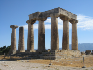 Ruins of the Temple of Apollo at Corinth, Greece.